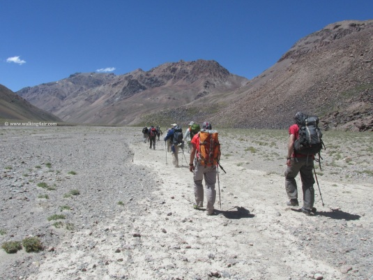 Making our way to camp. The greenery had given way to dry, barren land.