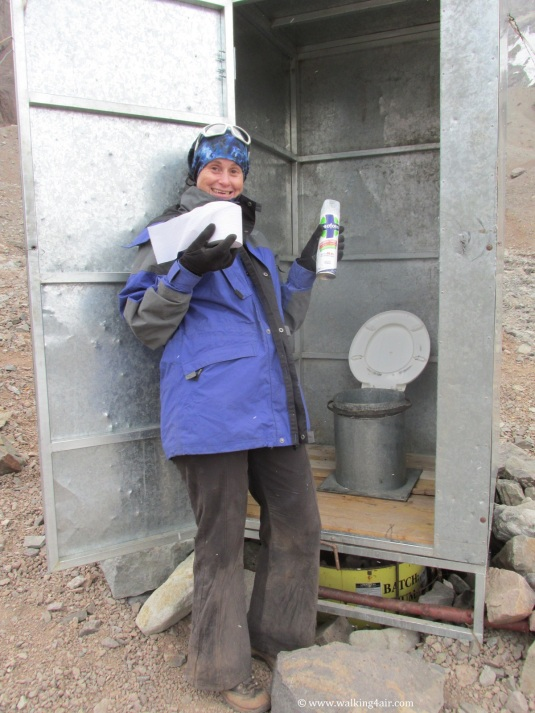 One of the pleasures (yes) of Base Camp. A decent toilet, toilet paper and even toilet spray. Talk about been spoilt!