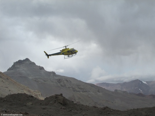 A rescue helicopter preparing to land at Base Camp and in the process waking us all up.