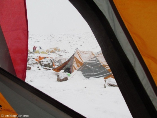 Camp 2 blanketed in a snow of white!