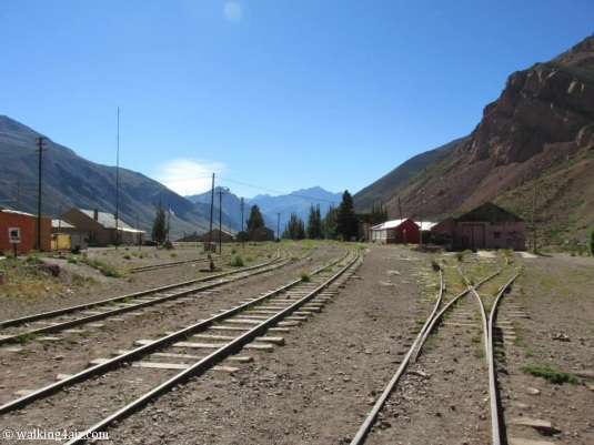 Old abandoned railway tracks at  Puente del Inca.