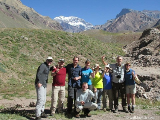 "Our teams ""Day 1"" photogrpph with Aconcagua watching over us in the background."